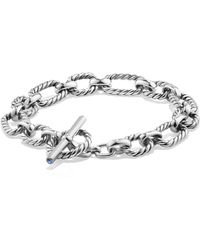 David Yurman - 'chain' Cushion Link Bracelet With Blue Sapphires - Lyst