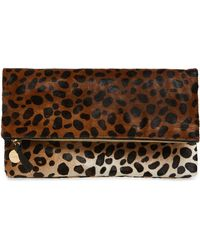Clare V. - Genuine Calf Hair Leopard Print Foldover Clutch - - Lyst