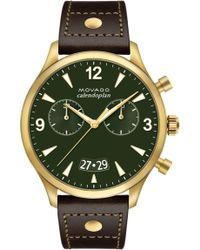 Movado - Heritage Calendoplan Chronograph Leather Strap Watch - Lyst