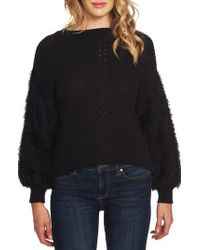 Cece - Fuzzy Sleeve Cotton Blend Pullover Sweater - Lyst
