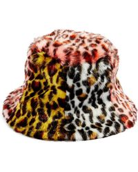 TOPSHOP - Mixed Animal Print Faux Fur Bucket Hat - Lyst