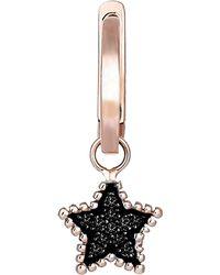 Kismet by Milka - Black Diamond Star Hoop Earring - Lyst