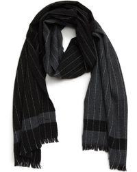 Hickey Freeman - Colorblock Chalk Stripe Wool Scarf - Lyst