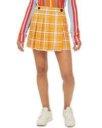 TOPSHOP - Summer Check Kilt Miniskirt - Lyst
