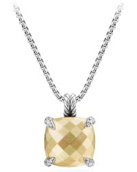 David Yurman Châtelaine® Pendant Necklace With Green Orchid And Diamonds - Metallic