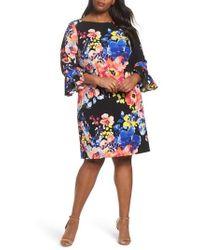 Tahari - Print Ruffle Sleeve Shift Dress - Lyst
