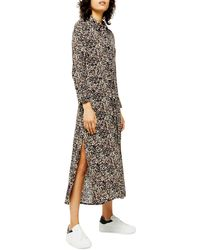 TOPSHOP Long Sleeve Open Back Floral Shirtdress - Multicolor