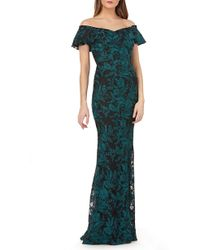 Carmen Marc Valvo - Sweetheart Embroidered Off The Shoulder Gown - Lyst