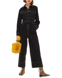 TOPSHOP - Contrast Denim Boilersuit - Lyst