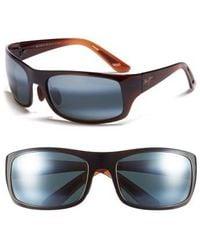 Maui Jim | 'haleakala - Polarizedplus2' Polarized Wrap Sunglasses - Rootbeer Fade/ Neutral Grey | Lyst