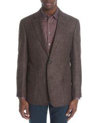 Emporio Armani - G-line Trim Fit Windowpane Wool Blend Blazer - Lyst