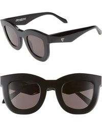 Valley Eyewear - Provisions 44mm Rounded Square Sunglasses - Gloss Black/ Black - Lyst