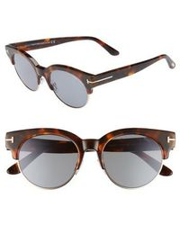Tom Ford - Henri 52mm Semi-rimless Sunglasses - Havana/ Rose Gold/ Blue - Lyst