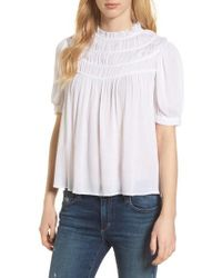 Hinge - Ruched Puff Sleeve Top - Lyst
