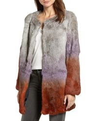 Love Token - Ombre Genuine Rabbit Fur Coat - Lyst