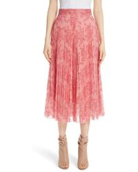 Burberry - Wilton Pleated Lace Skirt - Lyst