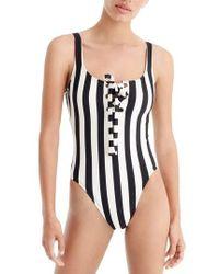 J.Crew | J.crew Stripe Lace-up One-piece Swimsuit | Lyst