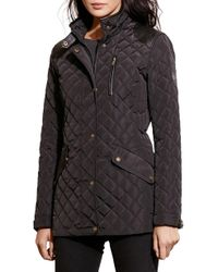 Lauren by Ralph Lauren - Faux Leather Trim Quilted Coat - Lyst