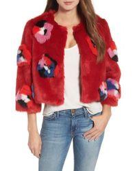 Heurueh - Sharon Flower Faux Fur Jacket - Lyst