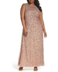 Adrianna Papell | Sequin Cowl Back Gown | Lyst