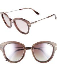 b882dfe0e14c Lyst - Tom Ford 51mm Polarized Cat Eye Sunglasses - Havana  Blue in Blue