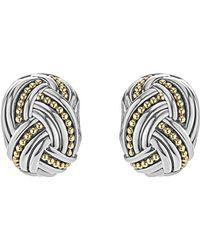Lagos - Torsade Rectangle Omega Earrings - Lyst