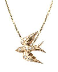 Nora Kogan - Diamond Swallow Pendant Necklace - Lyst