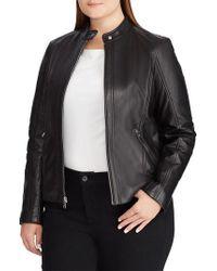 Lauren by Ralph Lauren - Leather Moto Jacket - Lyst