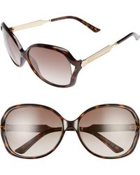 Gucci - 60mm Open Temple Oval Sunglasses - - Lyst