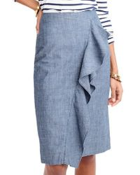 J.Crew | Chambray Ruffle Skirt | Lyst