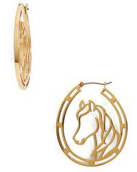 Kate Spade - Wild Ones Horse Wire Hoop Earrings - Lyst