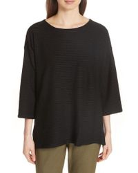 Eileen Fisher - Boxy Jacquard Knit Top - Lyst
