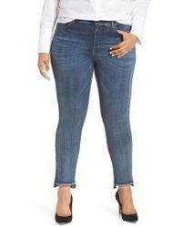 Marina Rinaldi - I Idruro Slim Leg Raw Hem Jeans - Lyst