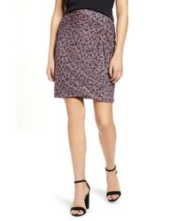 1.STATE - Ditzy Drift Twist Front Mesh Skirt - Lyst