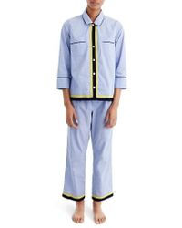 J.Crew | J.crew Grosgrain Trim Cotton Pajamas | Lyst