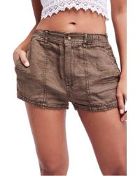 Free People - Beacon Utility Linen Shorts - Lyst