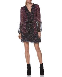 PAIGE - Sonoma Two-tone Floral Print Silk Dress - Lyst