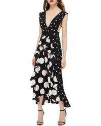 TOPSHOP - Spot Plunge Neck Midi Dress - Lyst