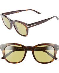 cff0724397 Lyst - Tom Ford Sunglasses Newman Tf 515 Ft 52n Dark Havana   Green ...
