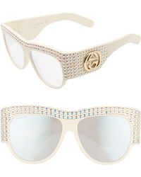 Gucci - Hollywood Forever 56mm Swarovski Crystal Sunglasses - Shiny Solid Ivory W/ Crystals - Lyst