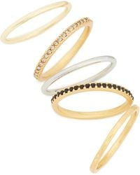 Madewell - Set Of 5 Filament Stackable Rings - Lyst