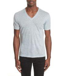 John Varvatos - Linen V-neck T-shirt - Lyst
