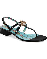 b64e1f9034f517 Lyst - Gucci Moody Bee Leather Ballet Flats in Black