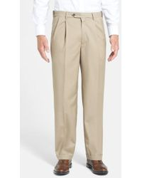Berle - Self Sizer Waist Pleated Wool Gabardine Trousers - Lyst