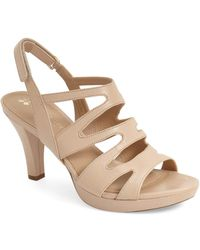 7b527f12dd73 Lyst - Naturalizer Pressley Leather Cage Slingback Sandals in Metallic
