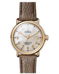 Shinola | 'runwell' Leather Strap Watch | Lyst