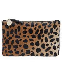 Clare V. - 'core' Leopard Print Genuine Calf Hair Pouch - Lyst
