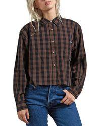 Volcom - Dare 2 Bloom Check Crop Shirt - Lyst