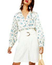 TOPSHOP Floral Pintuck Shirt - Multicolour