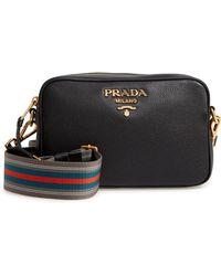 14c08d60aa18 Lyst - Prada Vitello Daino Single-strap Hobo Bag in Black